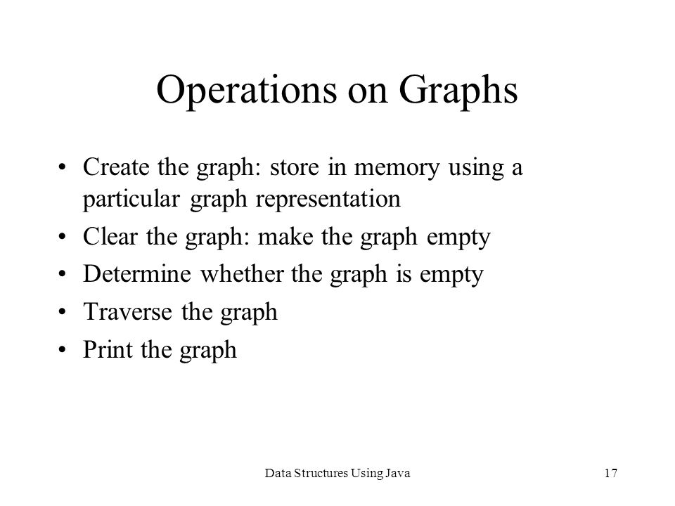 Data Structures Using Java17 Operations on Graphs Create the graph: store in memory using a particular graph representation Clear the graph: make the graph empty Determine whether the graph is empty Traverse the graph Print the graph