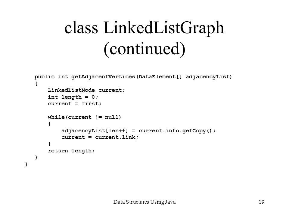 Data Structures Using Java19 class LinkedListGraph (continued) public int getAdjacentVertices(DataElement[] adjacencyList) { LinkedListNode current; int length = 0; current = first; 11 while(current != null) { adjacencyList[len++] = current.info.getCopy(); current = current.link; } return length; }
