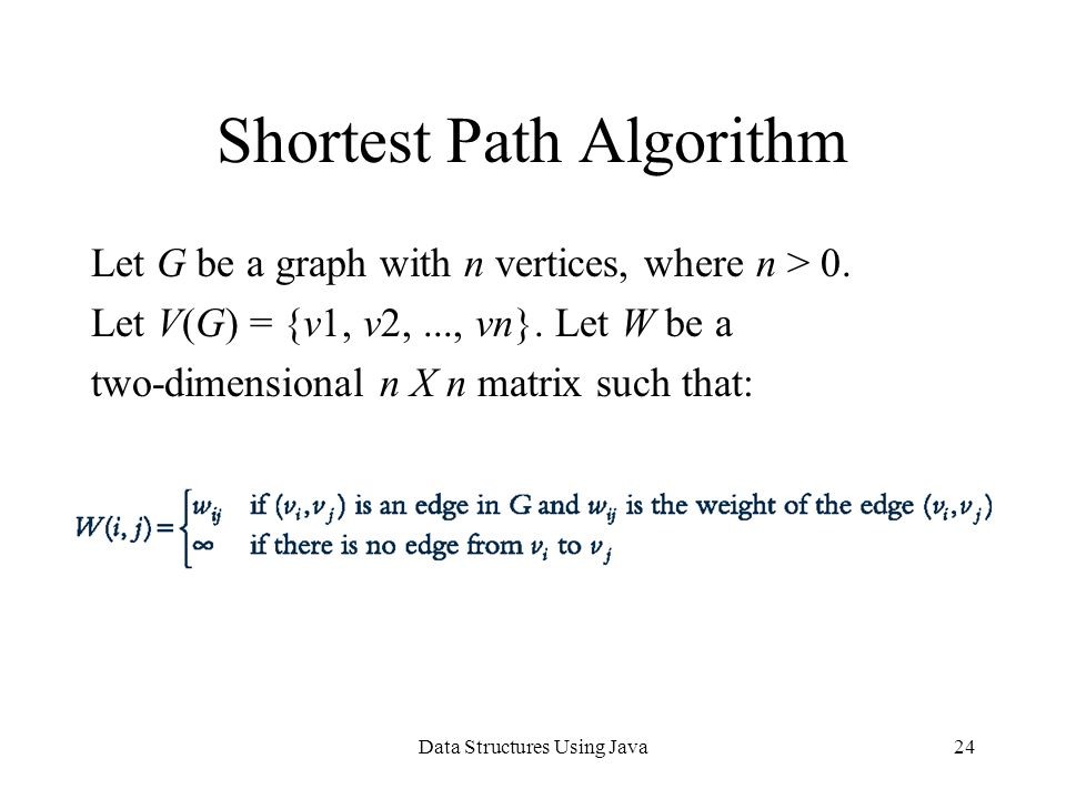 Data Structures Using Java24 Shortest Path Algorithm Let G be a graph with n vertices, where n > 0.