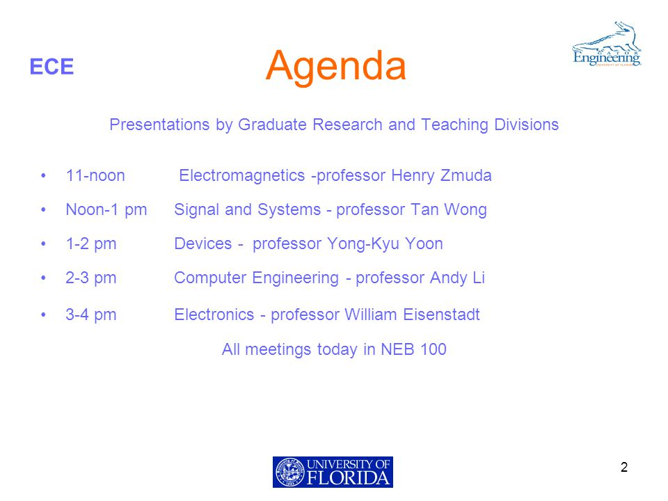 ECE Agenda Presentations by Graduate Research and Teaching Divisions 11-noon Electromagnetics -professor Henry Zmuda Noon-1 pmSignal and Systems - professor Tan Wong 1-2 pm Devices - professor Yong-Kyu Yoon 2-3 pm Computer Engineering - professor Andy Li 3-4 pm Electronics - professor William Eisenstadt All meetings today in NEB 100 2