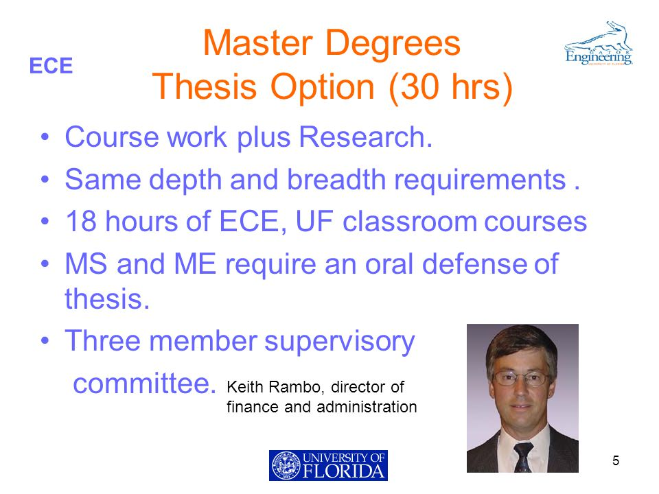 ECE Master Degrees Thesis Option (30 hrs) Course work plus Research.