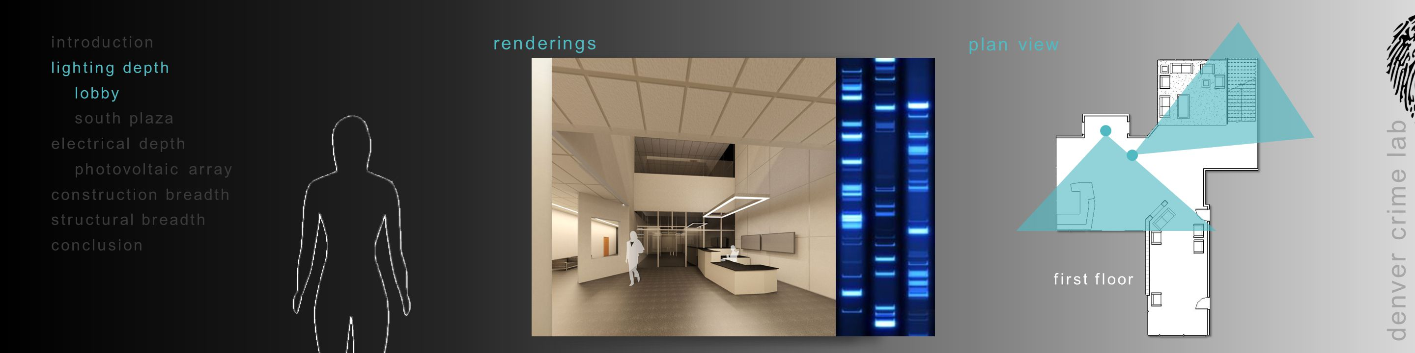 introduction lighting depth lobby south plaza electrical depth photovoltaic array construction breadth structural breadth conclusion denver crime lab reflected ceiling plans first floorthird floor