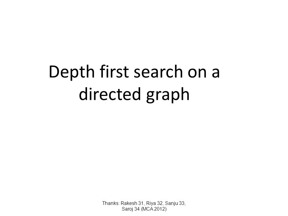 Depth first search on a directed graph Thanks: Rakesh 31, Riya 32, Sanju 33, Saroj 34 (MCA 2012)