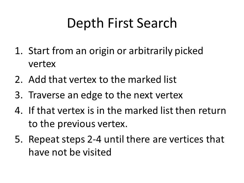 Depth First Search V7 has no outgoing edges return to v5, now that all of the vertices have been visited the algorithm ends v1 v2v3 v4 v5 v6 v7 Marked vertices v1v2v4v3v5v6v7