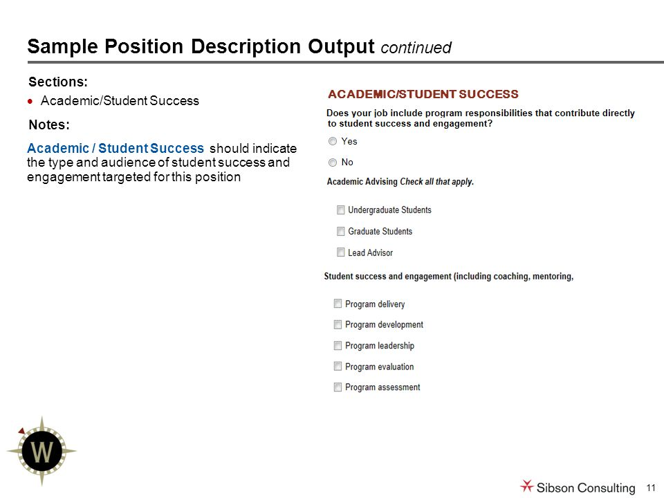11 Sections:  Academic/Student Success Notes: Academic / Student Success should indicate the type and audience of student success and engagement targeted for this position Sample Position Description Output continued ACADEMIC/STUDENT SUCCESS