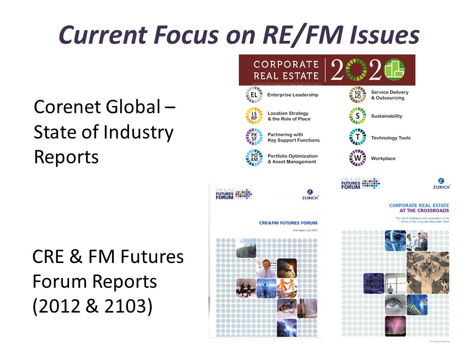 Current Focus on RE/FM Issues Corenet Global – State of Industry Reports CRE & FM Futures Forum Reports (2012 & 2103)