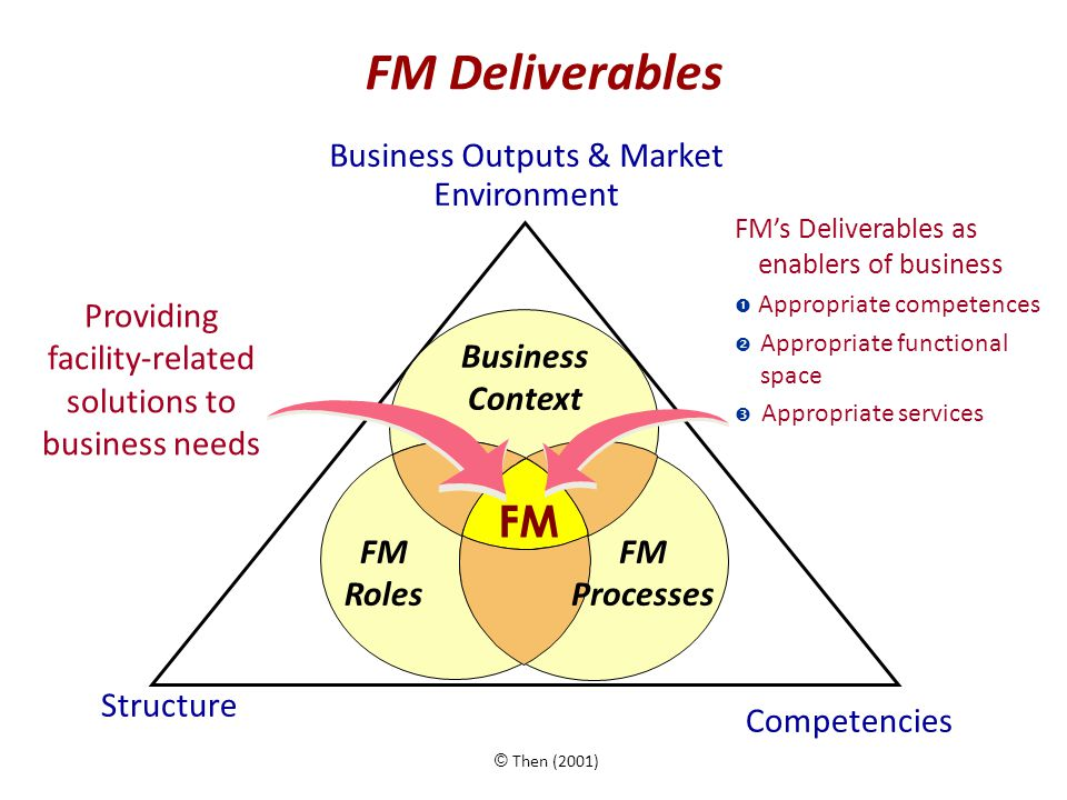 FM Deliverables Business Outputs & Market Environment Structure Business Context FM Roles FM Processes Competencies FM's Deliverables as enablers of business  Appropriate competences  Appropriate functional space  Appropriate services Providing facility-related solutions to business needs © Then (2001) FM