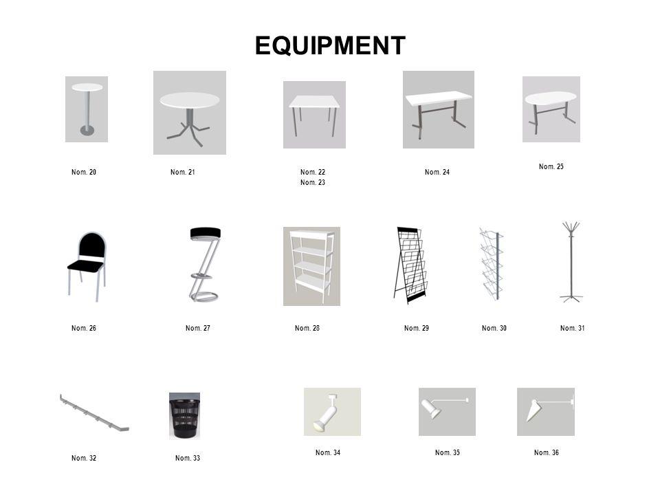 Equipment – Price list : Nomencature Item specificationPrice / pcs 01 White Wall Panel 100 x 250 cm 500 CZK 02 Flat shelf 1m /breadth = 30 cm/ 300 CZK 03 Downswept shelf 1m /breadth = 30cm, angle = 45°/ 250 CZK 04 Folding door lockable 500 CZK 05 Ceiling grid 150 CZK 06 Ceiling cloth - white 250 CZK 07 Information counter – half round – hight 810 mm 1200 CZK 08 Information counter – half round – hight 1100 mm 1200 CZK 09 Information counter 1000 x 500 mm x 810 mm with one shelf /breadth x depth x hight / 1100 CZK 10 Information counter 1000 x 500 mm x 1100 mm with one shelf /breadth x depth x hight / 1100 CZK 11 Counter for exhibit 1000 x 500 x 810 mm 1000 CZK 12 Counter for exhibit 1000 x 500 x 1100 mm 1000 CZK 13 Show case table 1000 x 500 x 810 mm /breadth x depth x hight / 1200 CZK 14 Show case table 1000 x 500 x 1100 mm /breadth x depth x hight / 1200 CZK 15 Show case with illumination 500 x 500 x 2500 mm, 2 x glass shelf 1800 CZK 16 Show case with illumination 1000 x 500 x 2500 mm, 2 x glass shelf 2000 CZK 17 Display unit 1000 x 500 x 480 mm 1000 CZK 18 Display unit 1000 x 1000 x 480 mm 1000 CZK 19 Lockable cabinet OCTANORM 950 x 680 x 450 mm, white 1200 CZK 20 Round table BUFET - hight, white, Ø 600 mm 600 CZK 21 Round table - white, Ø 700 mm 600 CZK VAT 21 % is not included in the prices