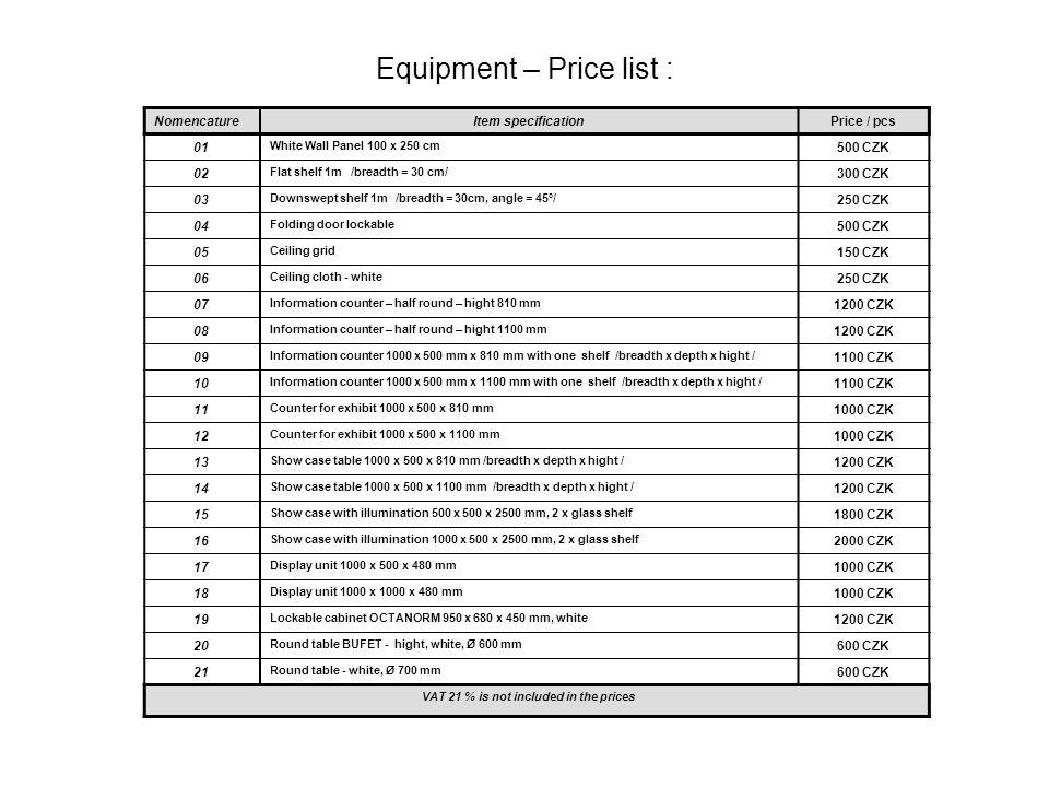 Equipment – Price list : Nomencature Item specificationPrice / pcs 22 Table 60/60 cm, white 500 CZK 23 Table 80/80 cm, white 600 CZK 24 Table 120/60 cm, white 600 CZK 25 Table Elipse 120/80 cm, white 500 CZK 26 Chair Bystrice 350 CZK 27 Bar stool, black/chrom 400 CZK 28 Shelf unit COMBI 1800 x 960 x 400 mm, 4 x shelf 800 CZK 29 Leaflet holder A , white colour 700 CZK 30 Leaflet holder 700 CZK 31 Hat and coat peg 100 CZK 32 Coat hanger 100 CZK 33 Trash bin 100CZK 34 Spotlight 100W 300 CZK 35 Spotlight on bracket 100W 400 CZK 36 Halogen spotlight, 150 – 300 W 500 CZK 40 Triplug, cable 2 – 4m 300 CZK 41 Carpet incl.