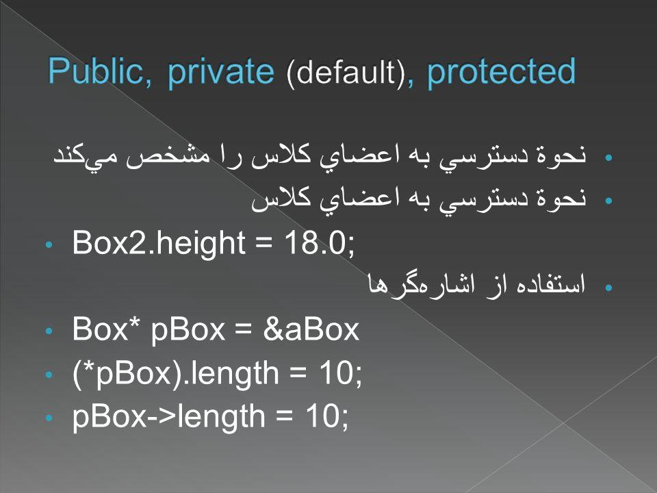 نحوة دسترسي به اعضاي کلاس را مشخص ميکند نحوة دسترسي به اعضاي کلاس Box2.height = 18.0; استفاده از اشارهگرها Box* pBox = &aBox (*pBox).length = 10; pBox->length = 10;