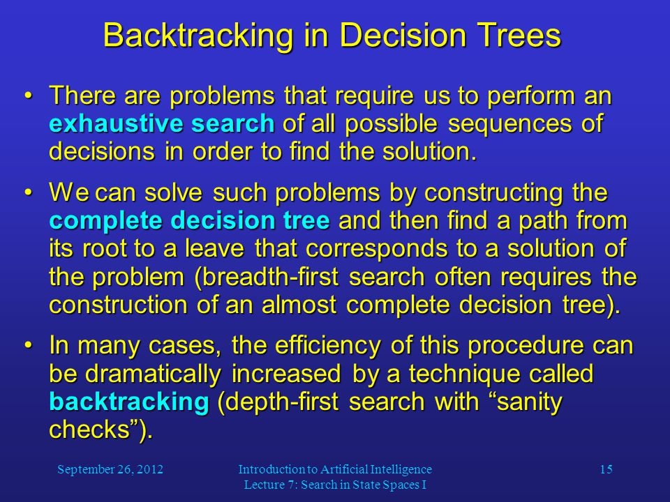 September 26, 2012Introduction to Artificial Intelligence Lecture 7: Search in State Spaces I 15 Backtracking in Decision Trees There are problems that require us to perform an exhaustive search of all possible sequences of decisions in order to find the solution.There are problems that require us to perform an exhaustive search of all possible sequences of decisions in order to find the solution.