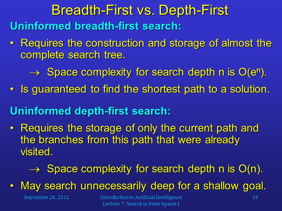 September 26, 2012Introduction to Artificial Intelligence Lecture 7: Search in State Spaces I 18 Breadth-First vs.