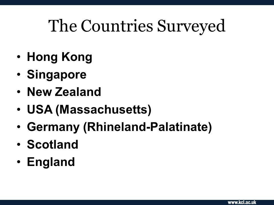 The Countries Surveyed Hong Kong Singapore New Zealand USA (Massachusetts) Germany (Rhineland-Palatinate) Scotland England