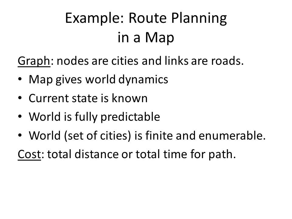 Example: Route Planning in a Map Graph: nodes are cities and links are roads.