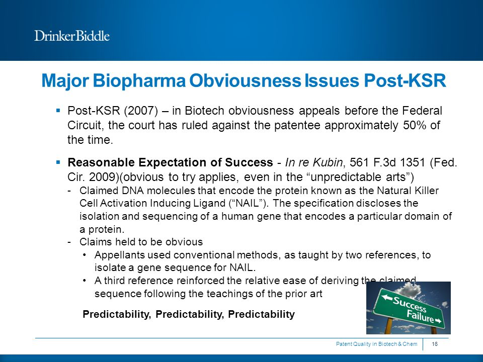 Major Biopharma Obviousness Issues Post-KSR  Post-KSR (2007) – in Biotech obviousness appeals before the Federal Circuit, the court has ruled against the patentee approximately 50% of the time.