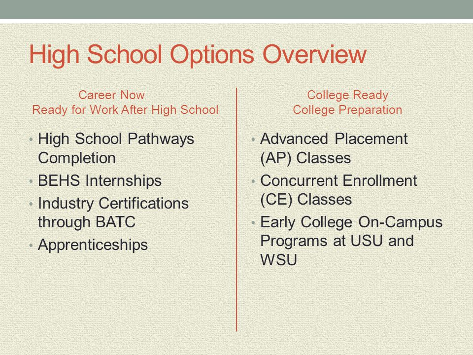 High School Options Overview Career Now Ready for Work After High School High School Pathways Completion BEHS Internships Industry Certifications through BATC Apprenticeships College Ready College Preparation Advanced Placement (AP) Classes Concurrent Enrollment (CE) Classes Early College On-Campus Programs at USU and WSU