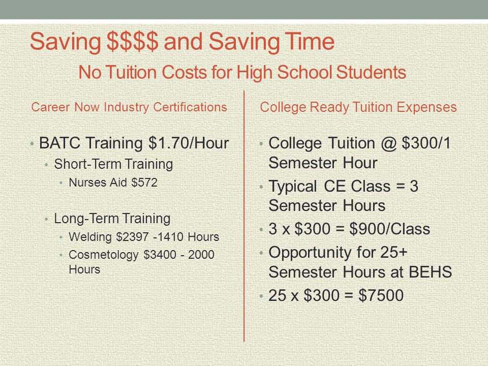 Saving $$$$ and Saving Time No Tuition Costs for High School Students Career Now Industry Certifications BATC Training $1.70/Hour Short-Term Training Nurses Aid $572 Long-Term Training Welding $2397 -1410 Hours Cosmetology $3400 - 2000 Hours College Ready Tuition Expenses College Tuition @ $300/1 Semester Hour Typical CE Class = 3 Semester Hours 3 x $300 = $900/Class Opportunity for 25+ Semester Hours at BEHS 25 x $300 = $7500