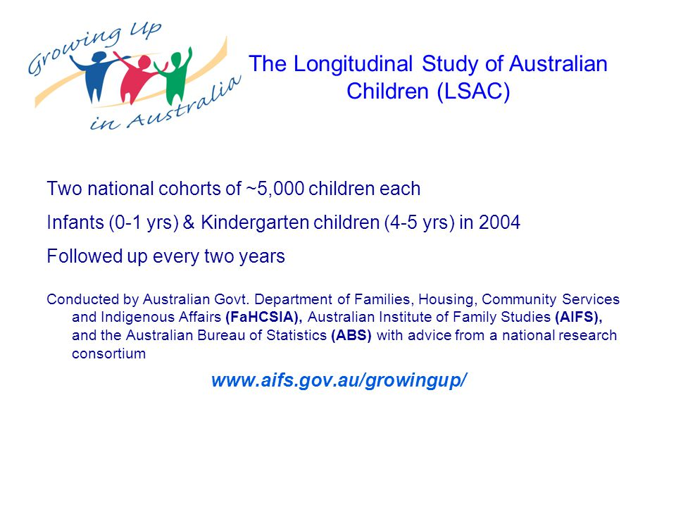 Two national cohorts of ~5,000 children each Infants (0-1 yrs) & Kindergarten children (4-5 yrs) in 2004 Followed up every two years Conducted by Australian Govt.