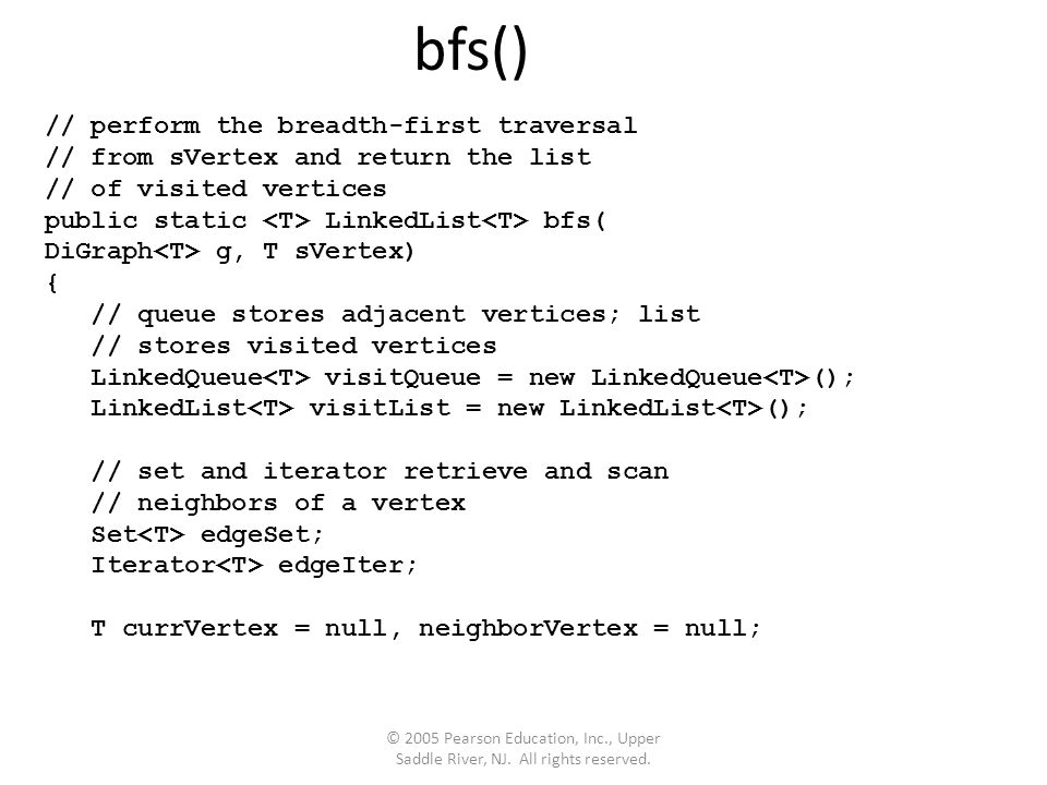 bfs() // perform the breadth-first traversal // from sVertex and return the list // of visited vertices public static LinkedList bfs( DiGraph g, T sVertex) { // queue stores adjacent vertices; list // stores visited vertices LinkedQueue visitQueue = new LinkedQueue (); LinkedList visitList = new LinkedList (); // set and iterator retrieve and scan // neighbors of a vertex Set edgeSet; Iterator edgeIter; T currVertex = null, neighborVertex = null;
