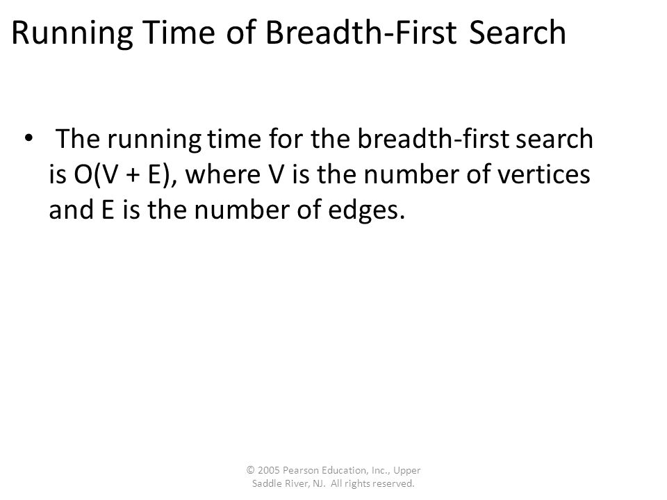 Running Time of Breadth-First Search The running time for the breadth-first search is O(V + E), where V is the number of vertices and E is the number of edges.