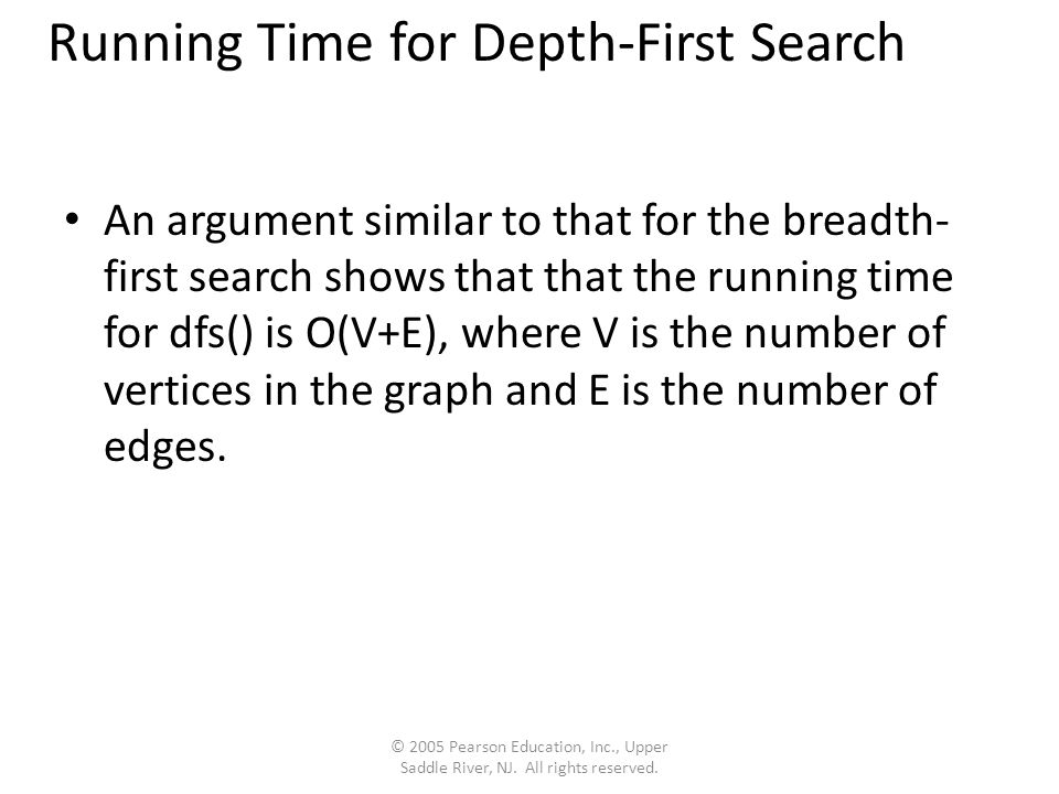 Running Time for Depth-First Search An argument similar to that for the breadth- first search shows that that the running time for dfs() is O(V+E), where V is the number of vertices in the graph and E is the number of edges.