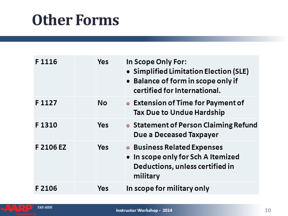 TAX-AIDE Other Forms Instructor Workshop - 2014 10 F 1116 YesIn Scope Only For:  Simplified Limitation Election (SLE)  Balance of form in scope only if certified for International.