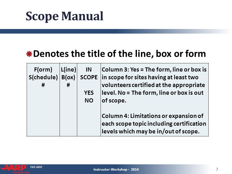 TAX-AIDE Scope Manual  Denotes the title of the line, box or form Instructor Workshop - 2014 7 F(orm) S(chedule) # L(ine) B(ox) # IN SCOPE YES NO Column 3: Yes = The form, line or box is in scope for sites having at least two volunteers certified at the appropriate level.