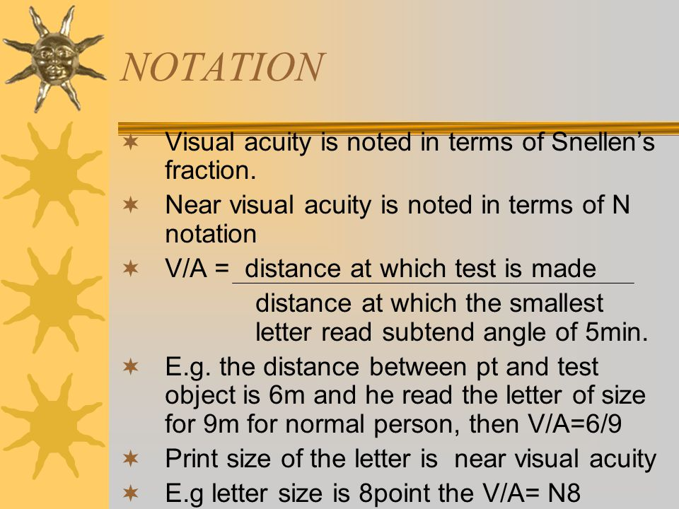NOTATION  Visual acuity is noted in terms of Snellen's fraction.