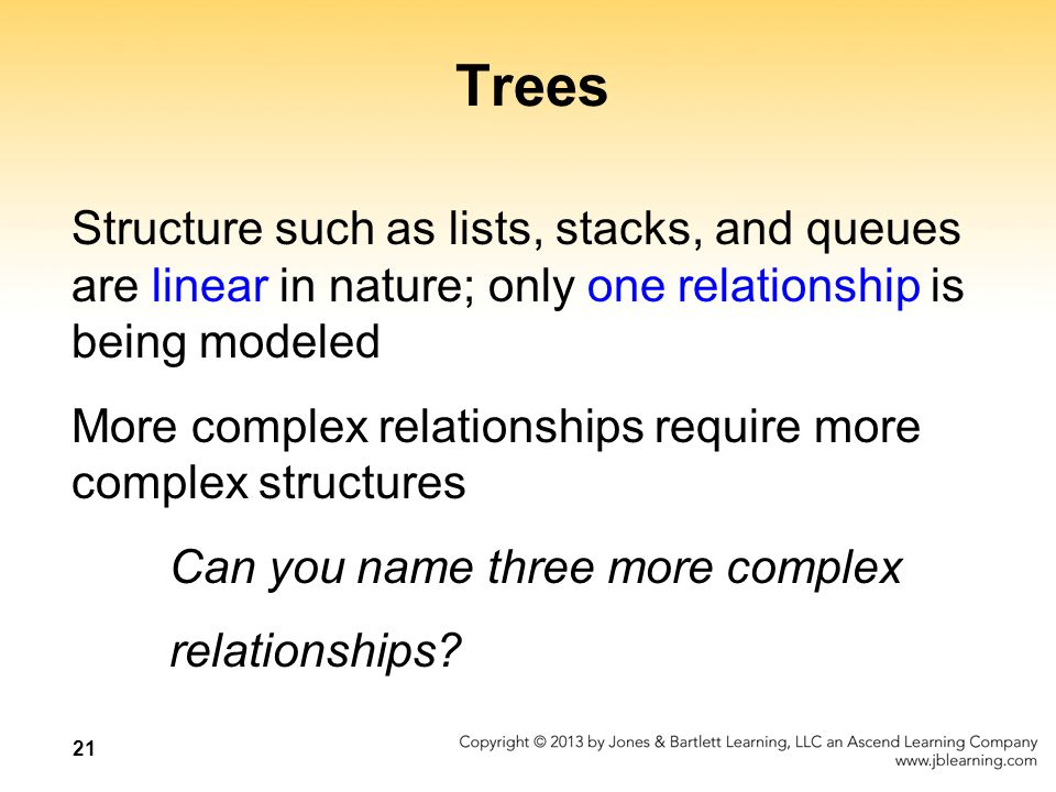 21 Trees Structure such as lists, stacks, and queues are linear in nature; only one relationship is being modeled More complex relationships require more complex structures Can you name three more complex relationships