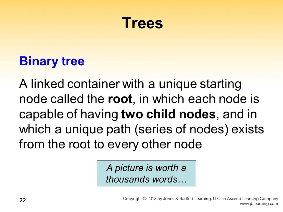 22 Trees Binary tree A linked container with a unique starting node called the root, in which each node is capable of having two child nodes, and in w