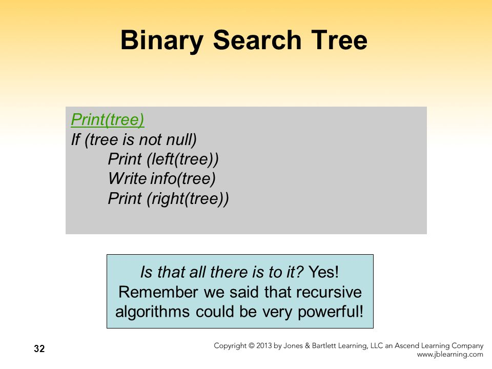 32 Binary Search Tree Print(tree) If (tree is not null) Print (left(tree)) Write info(tree) Print (right(tree)) Is that all there is to it.