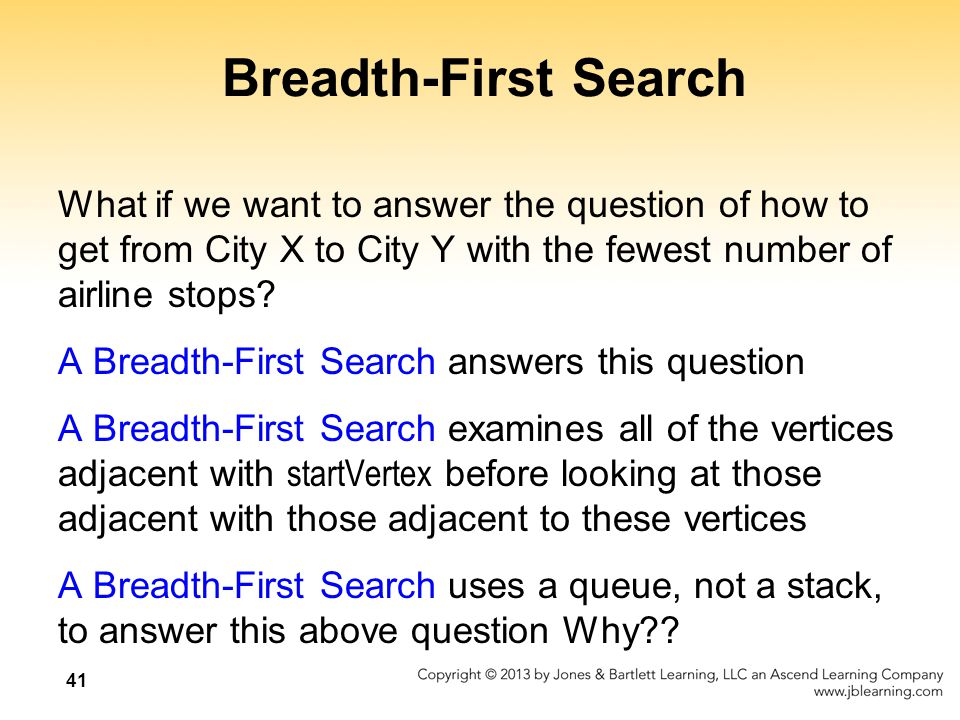 Breadth-First Search What if we want to answer the question of how to get from City X to City Y with the fewest number of airline stops.