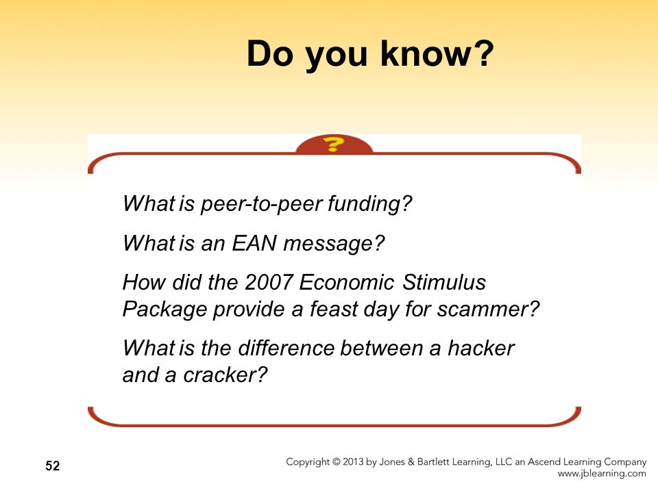 52 Do you know. What is peer-to-peer funding. What is an EAN message.