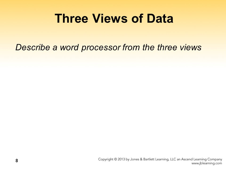 8 Three Views of Data Describe a word processor from the three views