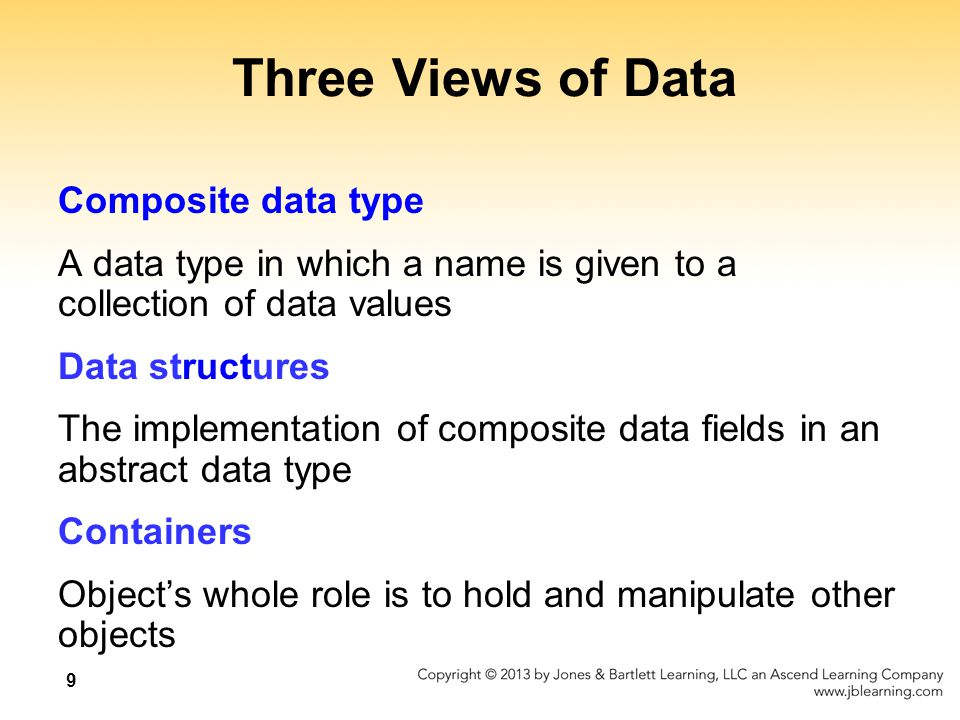 9 Three Views of Data Composite data type A data type in which a name is given to a collection of data values Data structures The implementation of composite data fields in an abstract data type Containers Object's whole role is to hold and manipulate other objects