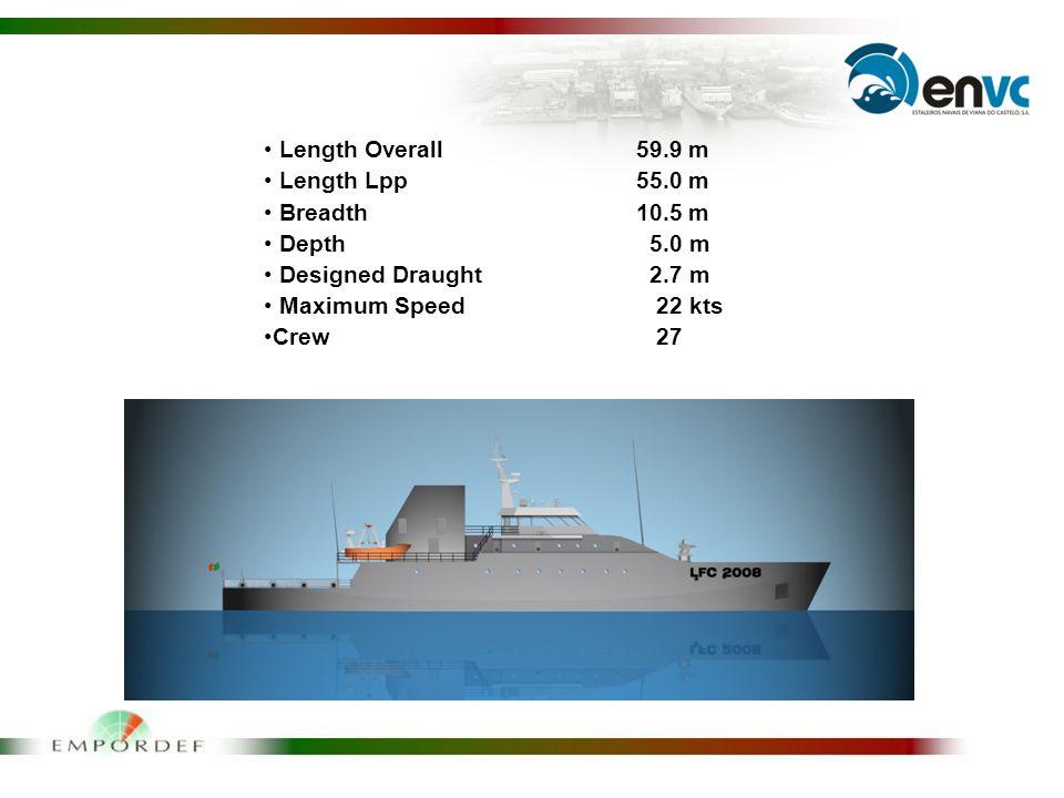 Length Overall59.9 m Length Lpp55.0 m Breadth10.5 m Depth 5.0 m Designed Draught 2.7 m Maximum Speed 22 kts Crew 27