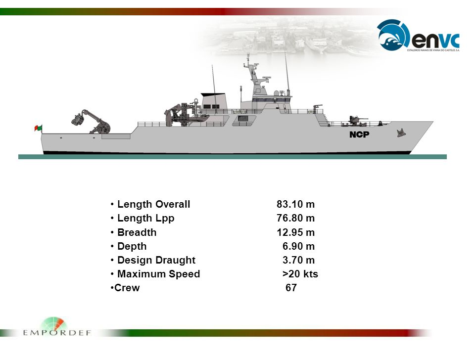Length Overall83.10 m Length Lpp76.80 m Breadth12.95 m Depth 6.90 m Design Draught 3.70 m Maximum Speed >20 kts Crew 67