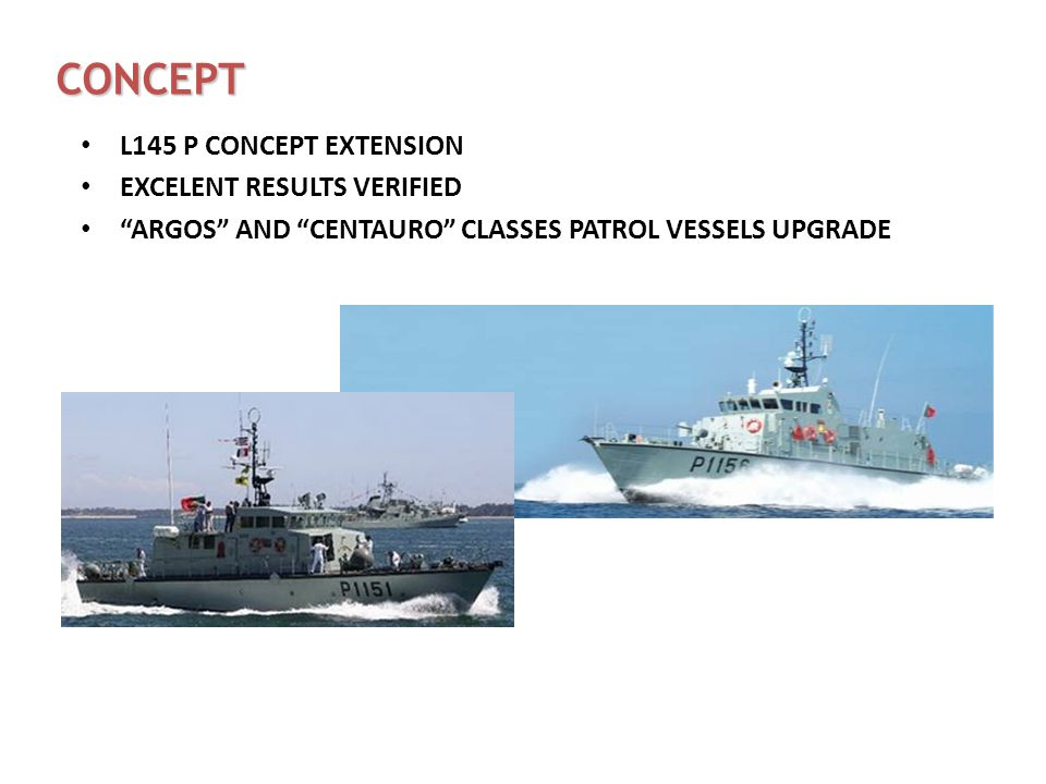 CONCEPT L145 P CONCEPT EXTENSION EXCELENT RESULTS VERIFIED ARGOS AND CENTAURO CLASSES PATROL VESSELS UPGRADE