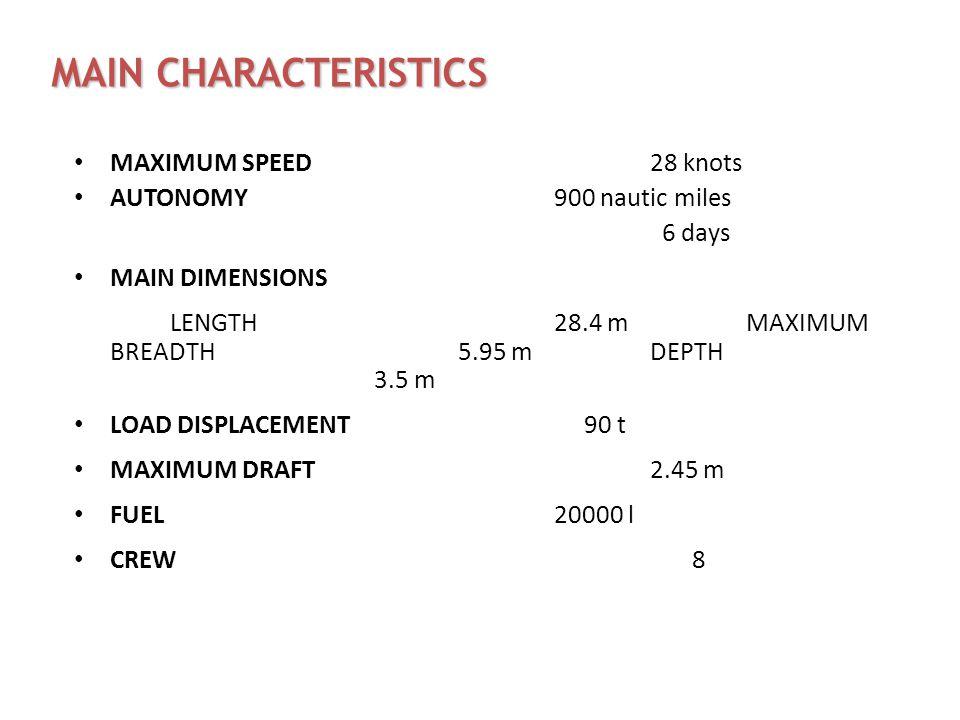 MAIN CHARACTERISTICS MAXIMUM SPEED28 knots AUTONOMY 900 nautic miles 6 days MAIN DIMENSIONS LENGTH 28.4 mMAXIMUM BREADTH5.95 mDEPTH 3.5 m LOAD DISPLAC