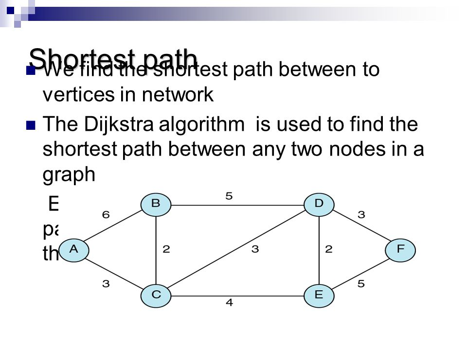 Shortest path We find the shortest path between to vertices in network The Dijkstra algorithm is used to find the shortest path between any two nodes
