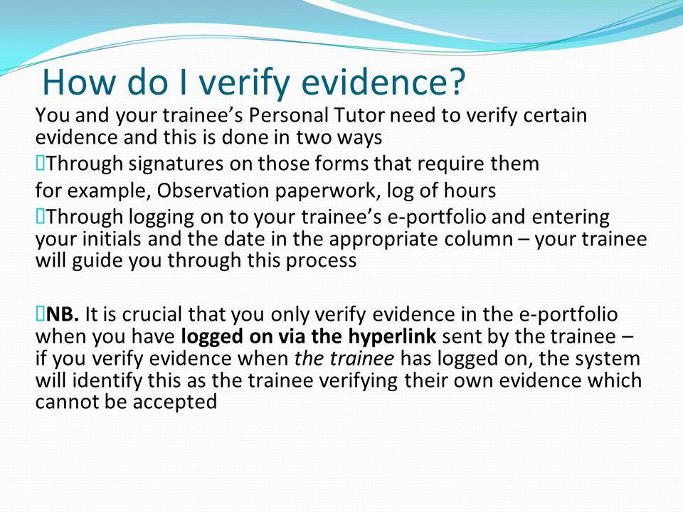 How do I verify evidence.
