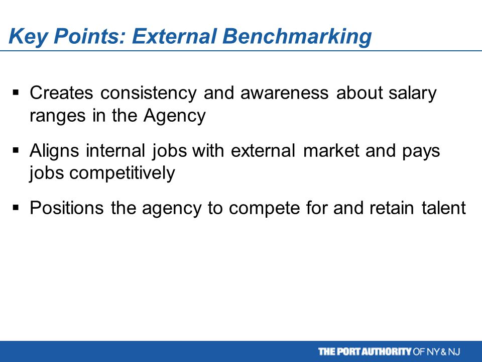 Key Points: External Benchmarking  Creates consistency and awareness about salary ranges in the Agency  Aligns internal jobs with external market and pays jobs competitively  Positions the agency to compete for and retain talent