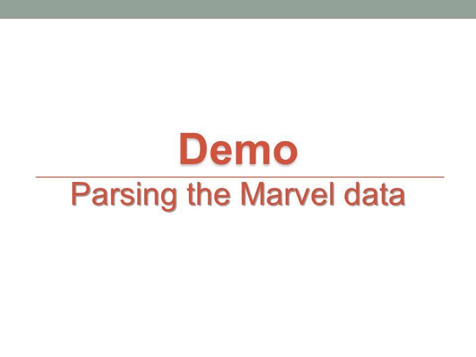 Demo Parsing the Marvel data