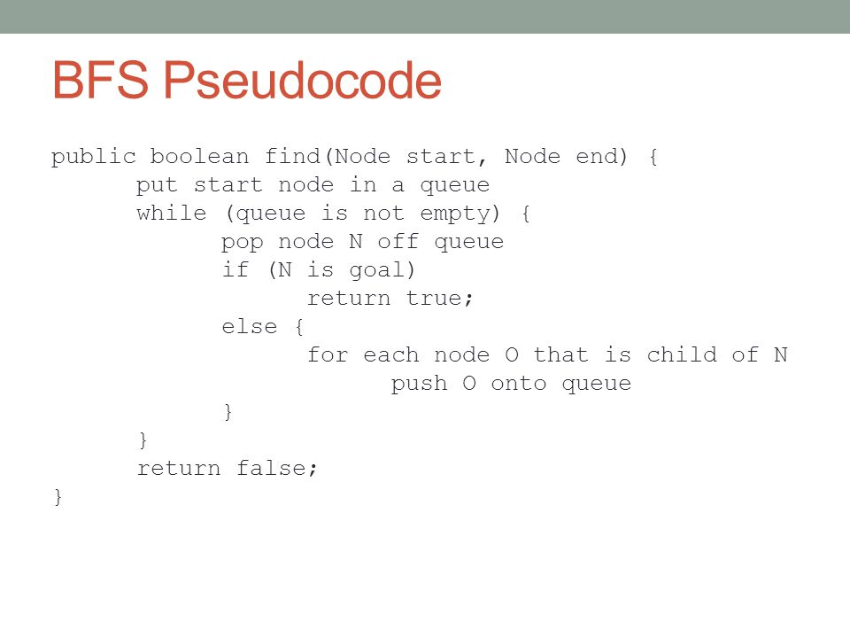 BFS Pseudocode public boolean find(Node start, Node end) { put start node in a queue while (queue is not empty) { pop node N off queue if (N is goal) return true; else { for each node O that is child of N push O onto queue } return false; }