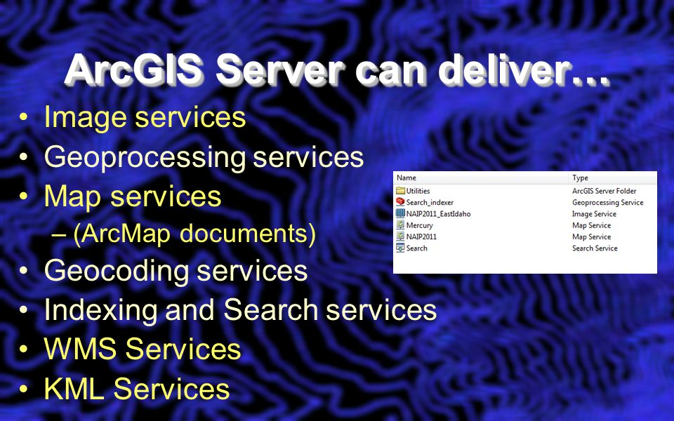 Image services Geoprocessing services Map services –(ArcMap documents) Geocoding services Indexing and Search services WMS Services KML Services ArcGIS Server can deliver…