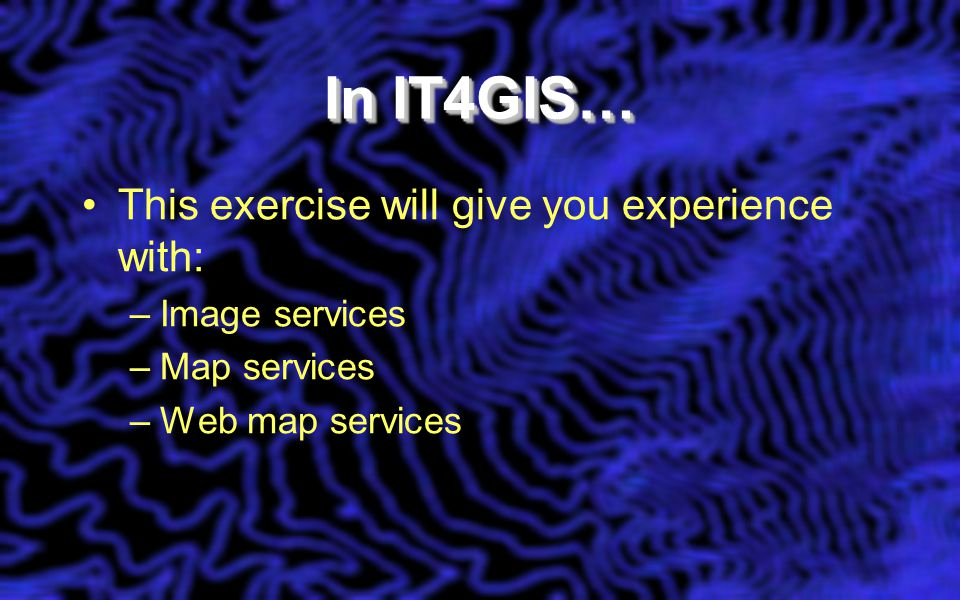 In IT4GIS… This exercise will give you experience with: –Image services –Map services –Web map services