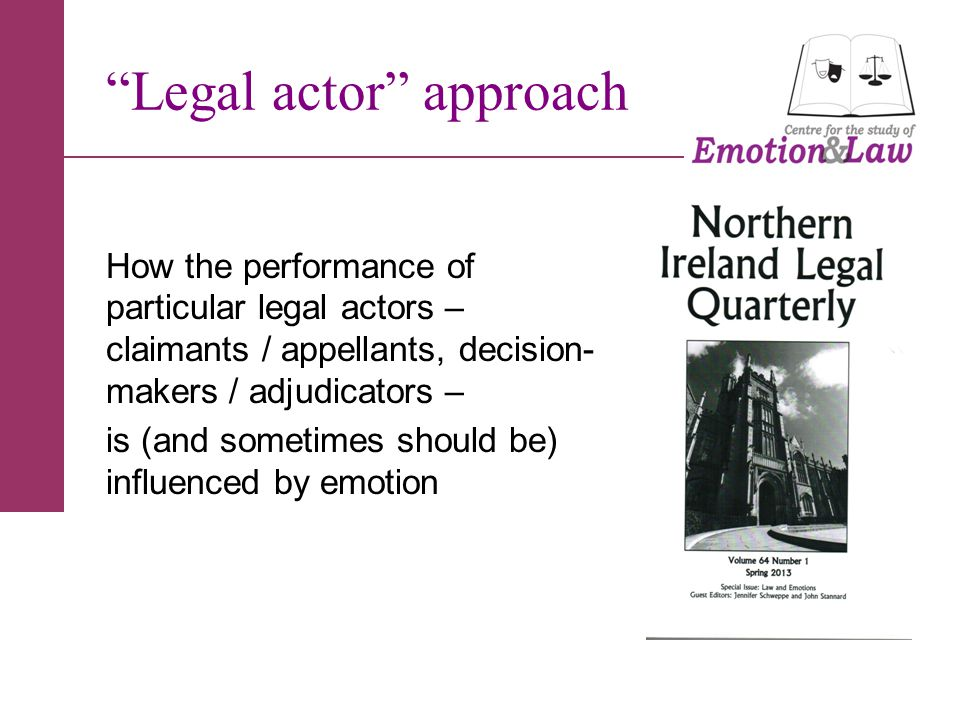 Legal actor approach How the performance of particular legal actors – claimants / appellants, decision- makers / adjudicators – is (and sometimes should be) influenced by emotion