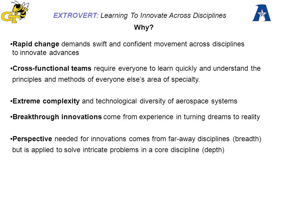 EXTROVERT: Learning To Innovate Across Disciplines Experienced engineers in industry, and researchers University Faculty New graduates at NASA, DoD and industry centers Aerospace graduate students Upper-division undergraduates Non-engineering majors in aerospace project teams College freshmen K-12 students 6 Sample Categories Of Learners