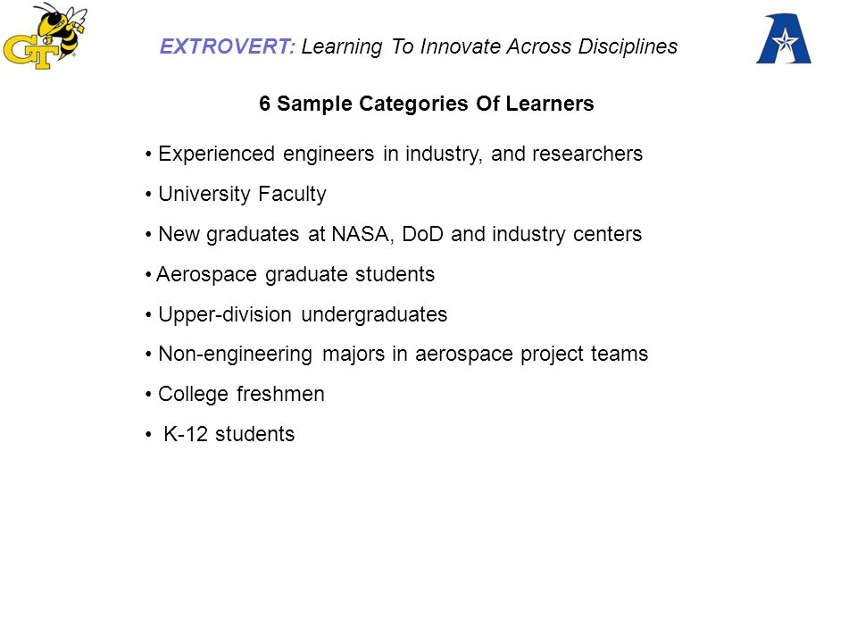 EXTROVERT: Learning To Innovate Across Disciplines EXTROVERT builds on 12 year experience of the Aerospace Digital Library collection of resources, expanding and refining the resources.