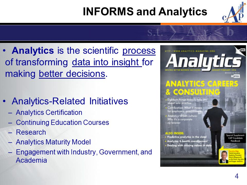 Analytics is the scientific process of transforming data into insight for making better decisions. Analytics-Related Initiatives –Analytics Certificat